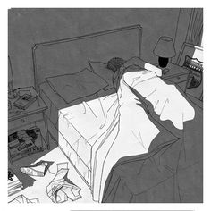 There's a brief moment when you first wake up where you have no memories, a blissful blank slate, a happy emptiness, but it doesn't last long and you remember exactly where you are and what you are trying to forget. —Unknown ‪ drawing by Jorge Roa Graphic Design Illustration, Graphic Art, Illustration Art, Manga Art, Anime Art, Dessin Old School, Bedroom Drawing, Arte Obscura, Ligne Claire
