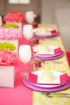 White Table Settings Setting Inspiration Pink Themes Yellow Bright