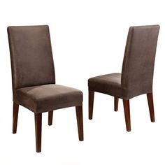 Sure Fit Stretch Leather Dining Room Chair Cover - Brown (Short)