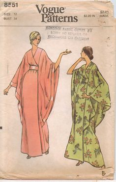 Vintage 1970s Vogue Pattern 8551 Womens Wrapped Robe or Caftan Size 12 UnCut