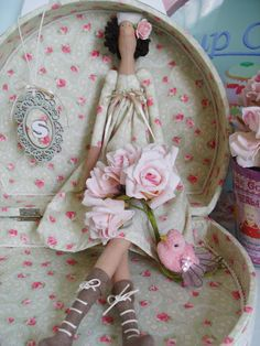 "....i think this ""shabby chic"" ensemble is perfect! from the tilda doll to the fabric and accessories....love everything about it!..."