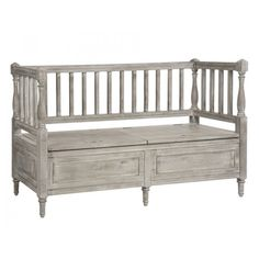 Washed Gray Wood Storage Bench