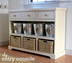 DIY:  How to Build an Entry Console - this is such a great design and would be so useful in a mudroom or entry - Ana White