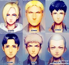 Shingeki no Kyojin characters nationalities. Part II