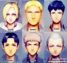 Shingeki no Kyojin characters nationalities. Part II