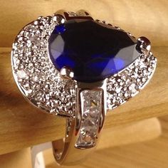 Exotic 5ctw Blue Sapphire Pear Cut Sterling Silver Halo Ring CH 052 |We combine shipping|No Question Refunds|Bid over $60 for free shipping. Starting at $1