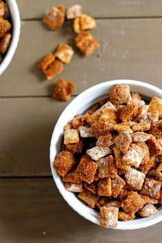 Cinnamon Puppy Chow just be sure to use gf chex and ingredients.  Have to find how to make cinnamon chips that are gf
