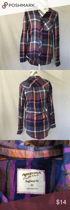 Arizona Boyfriend Fit Plaid Button Down Arizona Jean Co brand size xsmall boyfriend fit plaid long sleeve button down with pocket. Bust is 37 inches length I front is 25.5 length in back is 25.5-29 inches. 100% rayon. In excellent condition. Arizona Jean Company Tops Button Down Shirts