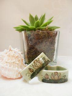 Celadon Glaze Ceramic Napkin Ring Pair Vintage Hand Painted Tableware