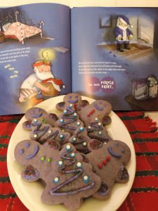 Baking cookies to go with the book at home or in the classroom: Santa's Just Not Right Christmas Cookies
