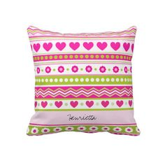 Abstract Pink green pattern + dots flowers hearts Pillow