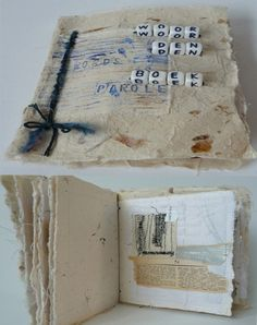 Textiel boekje. Geïnspireerd door woorden. Geborduurd en bewerkt met gemengde materialen.