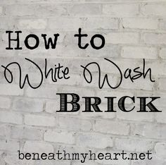 How to White Wash Brick Bathroom Update - My-House-My-Home Cool Diy Projects, Home Projects, Brick Bathroom, Master Bathroom, Bathroom Ideas, Kitchen Brick, Kitchen White, Bathroom Wall, Do It Yourself Home