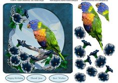 Tropical Flowers Bird Topper Decoupage on Craftsuprint - Add To Basket!