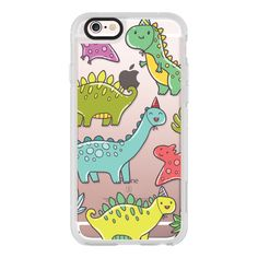 Cute dinosaurs - iPhone 7 Case, iPhone 7 Plus Case, iPhone 7 Cover,... ($40) ❤ liked on Polyvore featuring accessories, tech accessories, iphone case, iphone hard case, iphone cover case, iphone cases and apple iphone case