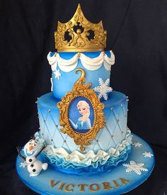 Elsa Frozen Cake Frozen 3rd Birthday, Elsa Birthday Party, Disney Frozen Birthday, Birthday Cake Girls, Photo Birthday Cakes, Birthday Ideas, Bolo Frozen, Elsa Frozen Cake, Disney Frozen Party