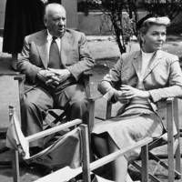 Alfred Hitchcock and Doris Day on set