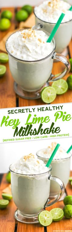 Healthy Key Lime Pie Milkshake! Thick, creamy, sweet, and packed with key lime pie flavor, but without all the added sugar or butter.  No sugary syrups, ice creams or artificial flavors here... but you'd never know it! [refined sugar free, low carb, low fat, high protein, gluten free]