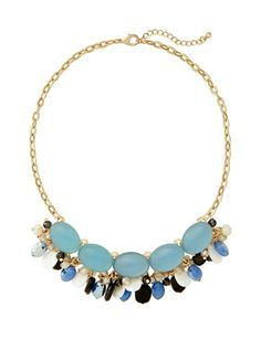 Fringed Gem Necklace from THELIMITED.com #TheLimited #Accessory #MakeaStatement #Necklace #Pastel #SpringStyle