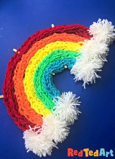 Red Ted Art#s Finger knitting rainbow! Learn how to finger knit and make how to make finger pom poms and then bring these all together in our finger knitting rainbow craft. Gorgeous wall decoration or window decoration made from Yarn! We love all Yarn Crafts for Kids! Rain Crafts, Yarn Crafts For Kids, Art Activities For Kids, Craft Stick Crafts, Craft Ideas, Finger Knitting Projects, Knitting For Kids, Fabric Crafts, Sewing Crafts