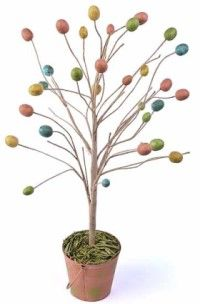 Easter egg tree looks wonderful on the mantle or the dining room table. Instead of using real egg shells try plastic eggs- less messy and smelly