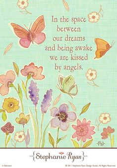 """Watercolor Print """"Angel Kisses and Butterfly Dreams"""" by Etsy seller """"StephanieRyanArt"""" Angel Protector, Adorable Petite Fille, Angel Quotes, I Believe In Angels, Angels Among Us, After Life, Guardian Angels, In Loving Memory, Mellow Yellow"""