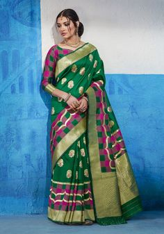 Beautiful Art Silk Saree in Green color base fabric with hand woven work on the saree. QUANTITY AVAILABLE Saree/ Sari. This sari is also attached with UN-stitched blouse pieces. Sari color may be a shade darker or lighter than the picture. Art Silk Sarees, Silk Sarees Online, Banarasi Sarees, Designer Sarees Wedding, Wedding Silk Saree, Handloom Weaving, Traditional Sarees, Traditional Art, Casual Saree