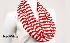 Striped Infinity Scarf- this but in black Rent Prom Dresses, Princess Wedding, Red And White, Black, Scarves, My Style, Infinity, How To Wear, Fashion Trends
