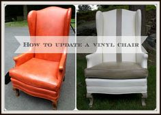 Old vinyl chair updated by using Chalk Paint by Annie Sloan in Old White  and