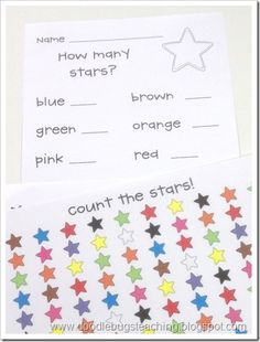 Count the stars. Put how many of each color
