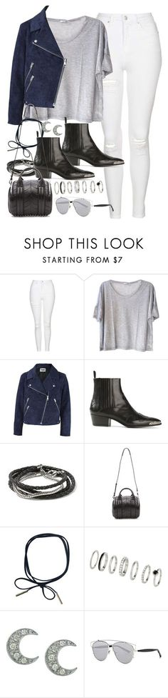 """Outfit with white jeans"" by ferned ❤ liked on Polyvore featuring Topshop, Clu, Acne Studios, Yves Saint Laurent, Banana Republic, Alexander Wang, Sydney Evan and Christian Dior"
