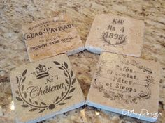 DIY by Design: Tumbled Marble Coasters Tutorial.  ******use this one******