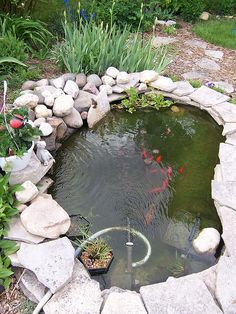 56 Backyard Ponds And Water Garden Landscaping Ideas 56 Backyard Ponds And Water Garden Landscaping IdeasDo you want a fish pond in your back garden? Pool ideas this page shows various styles f Outdoor Ponds, Outdoor Gardens, Backyard Ponds, Koi Ponds, Outdoor Fountains, Landscaping With Rocks, Front Yard Landscaping, Landscaping Ideas, Pond Design