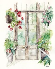 "Greenhouse Painting - Print from Original Watercolor Painting, ""Greenhouse"", Garden Art, Red Geranium on Etsy, $12.00"