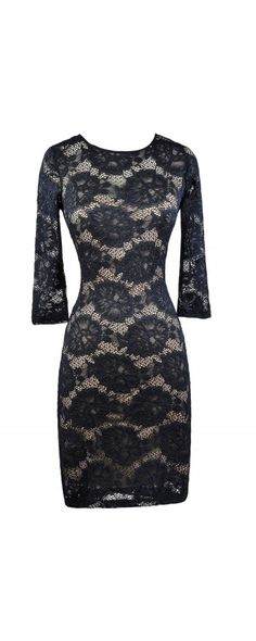 Lily Boutique Lovely Lace Half Sleeve Pencil Dress in Navy, $40 Navy Lace Dress, Lace Pencil Dress, Online Boutique Dress www.lilyboutique.com