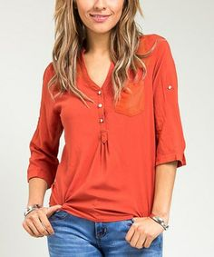 Look what I found on #zulily! Rust Brown Pocket Three-Quarter Sleeve Top, $15 !!  #zulilyfinds
