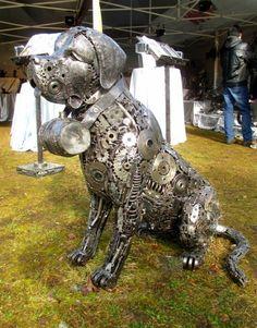 dog statue sculpture figure, life size scrap metal art