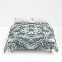 Winter snowy spruce forest mandala comforter by Crazy4patterns #winter #snow #mandala