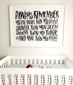 Always Remember You Are Braver - FREE SHIPPING - Wood Sign - 47x35 - Black and white nursery art neutral Pretty In Polka Dots. A.A. Milne quote