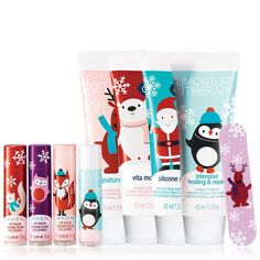 """Kick off the holiday spirit with these festive little stocking stuffers.3 Very Merry Lip Balm - Chocolate Genache, Almond Sugar, Pink Meringue.15 oz. net wt. A 99¢ value each.Moisture Therapy Intensive Healing & Repair Holiday Lip Balm.15 oz. net wt. A 99¢ value.Very Merry Mini Nail File3.5"""" L x 3/4"""" W. net wt. A 99¢ value.4 Holiday Hand Cream1.5 fl. oz. net wt. A 99¢ value each. www.youravon.com/kcruse"""