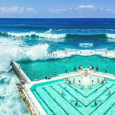 Bondi Beach (or Bay) is a popular beach and the name of the surrounding suburb in Sydney, New South Wales, Australia. Places Around The World, Oh The Places You'll Go, Places To Travel, Travel Destinations, Places To Visit, Dream Vacations, Vacation Spots, Greece Vacation, Greece Travel