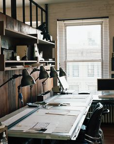 the working area of Roman & Williams, interior and furniture designer in NYC