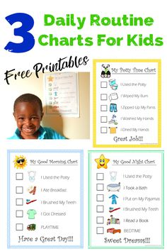 Fun for kids Potty Training Chart and Child Morning and Bedtime Routine Chart Printables to help keep your little ones on track. - The Kreative Life Toddler Routine Chart, Daily Routine Chart For Kids, Toddler Chart, Chore Chart For Toddlers, Charts For Kids, Daily Routines, Bedtime Chart, Bedtime Routine Chart, Morning Routine Chart