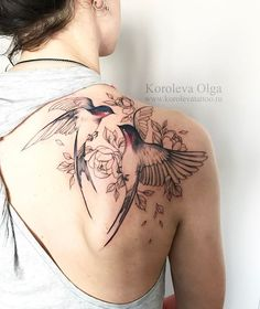 back Shoulder Tattoo Ideas for women; tattoos on the back; tattoos on the shoulders; Back Of Shoulder Tattoo, Shoulder Tattoos For Women, Flower Tattoo Shoulder, Sparrow Tattoo Shoulder, Shoulder Blade Tattoos, Bird And Flower Tattoo, Flower Tattoos, Flower Bird, Two Birds Tattoo