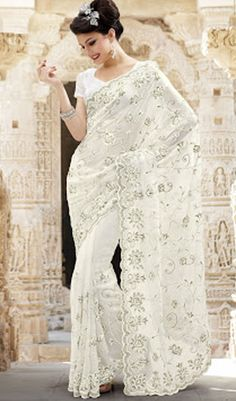 Buy online sarees such as silk saris, indian sarees and designer sarees at Glitter Designz. Shop online Indian saris and bridal sarees of good quality and rich in look at best price and get Express shipping worldwide. Georgette Sarees, Lehenga Choli, Net Saree, Indian Dresses, Indian Outfits, Indian Clothes, Wedding Sari, Wedding Dresses, Off White Saree