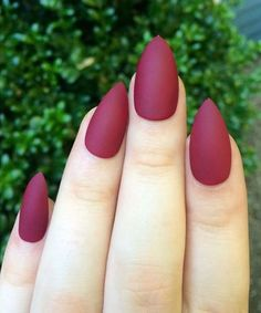 Love This Elegant Matte Maroon Stiletto Nails 2018 for Girls