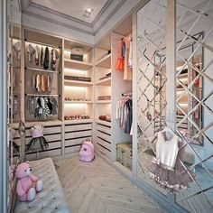 Let's have a bit of fun and Glam this morning with this luxury princess closet🌸Designed by.{ } Tag someone who would love this… Walk In Closet Design, Bedroom Closet Design, Girl Bedroom Designs, Closet Designs, Bedroom Girls, Glam Closet, Kid Closet, Luxury Closet, Luxury Bed