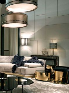 Cosy home with Fendi Casa Artù sofa and gold Constellation coffee tables #elegance #luxury #living Salone del Mobile Milano 2015