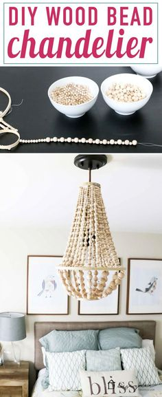 OMG, I love this DIY chandelier made from wood beads. It looks like it may take a while, but it doesn't look hard! I've wanted a wood bead chandelier but they are so expensive. Totally making this. decor diy tutorials DIY Chandelier From Wood Beads Diy Décoration, Easy Diy, Simple Diy, Cheap Home Decor, Diy Home Decor, Room Decor, Wood Bead Chandelier, Chandelier Ideas, Diy Lampe
