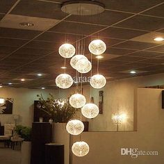 Modern Brief Long Stair E27 Led Round Glass Ball Chandelier 10 Lights Lustre Pendant Lamp Home Decorative Fixture Lighting Stained Glass Chandelier Chandelier Modern From Caraa, $344.72| Dhgate.Com